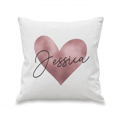 Personalised Rose Gold Heart Cushion & Insert