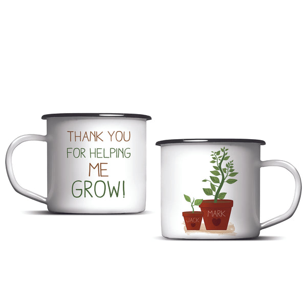 Personalised Helping Me To Grow Enamel Mug