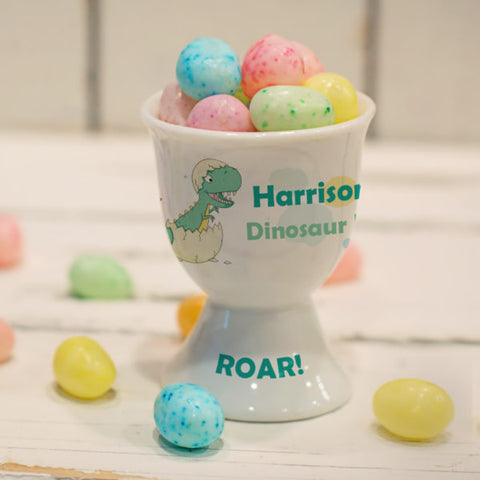 Personalised Green Dinosaur Footed Egg Cup