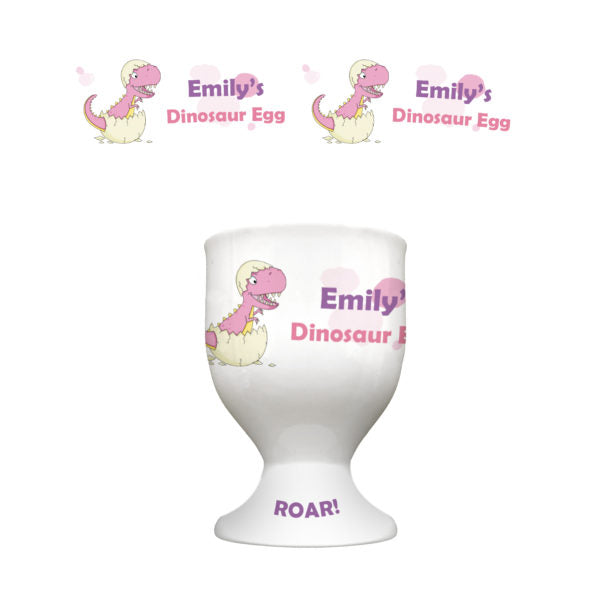 Personalised Pink Dinosaur Footed Egg Cup