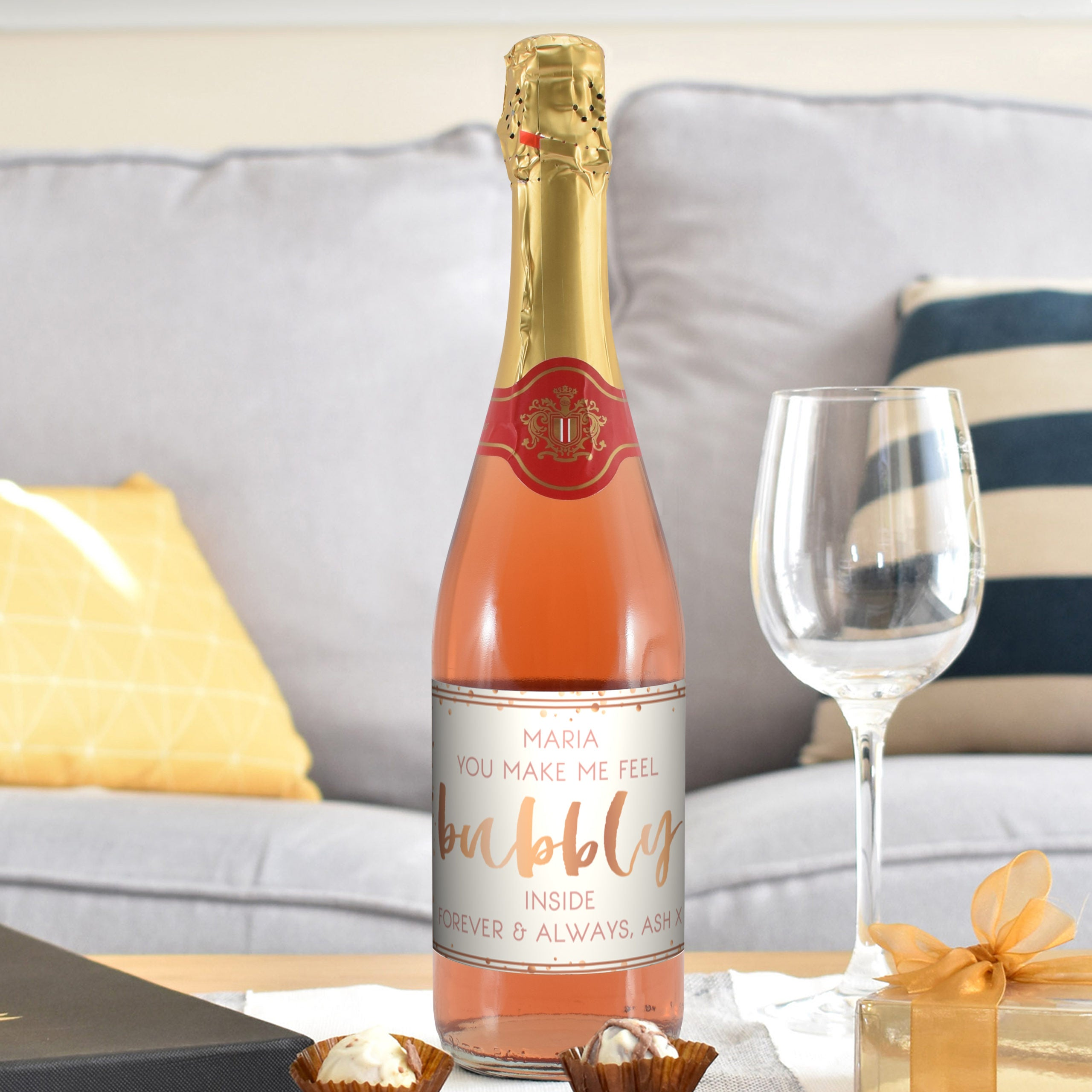 Personalised Bubbly Sparkling Rosé, Alcoholic Beverages by Gifts24-7