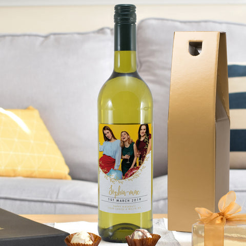 Personalised Gold Detail Photo Upload White Wine