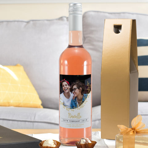 Personalised Gold Detail Photo Upload Rosé Wine