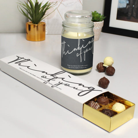 Personalised Gifts Thinking Of You Candle Jar & Truffles Set