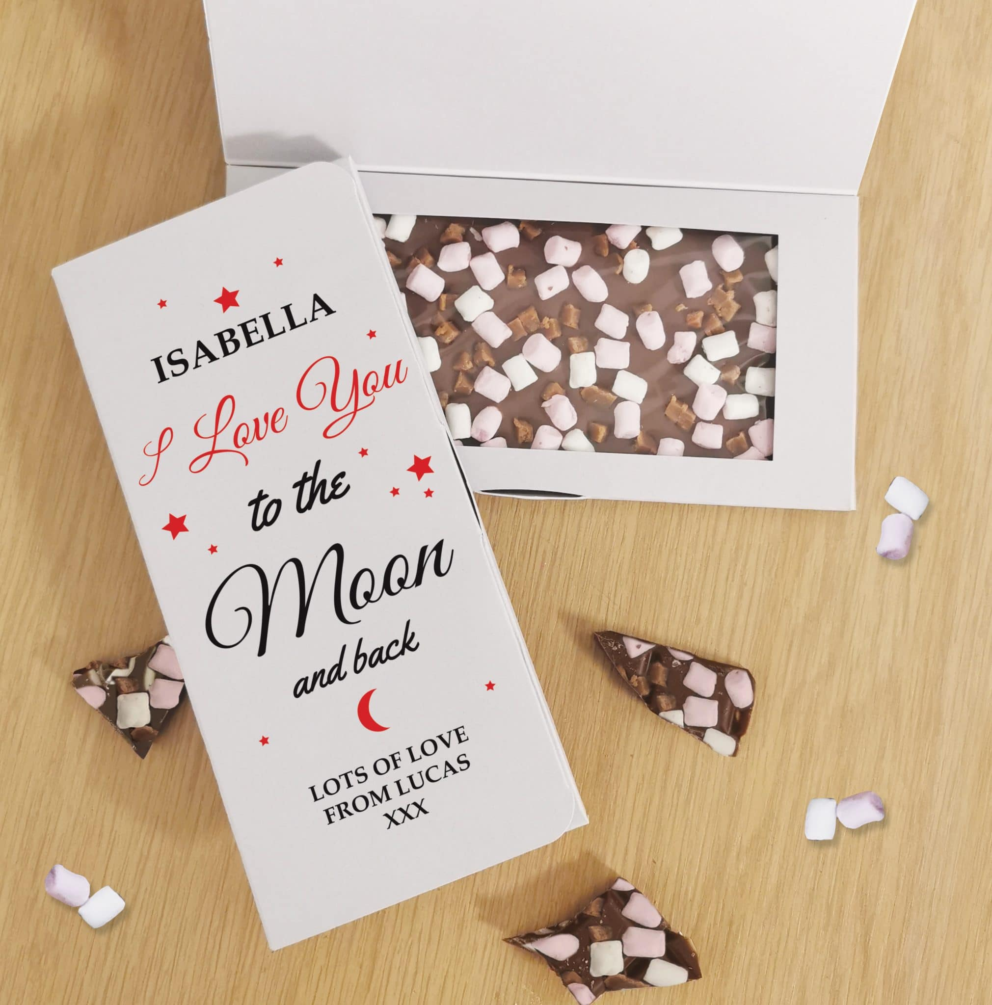 Personalised To The Moon & Back Milk Chocolate Letterbox Card, Gift Giving by Gifts24-7