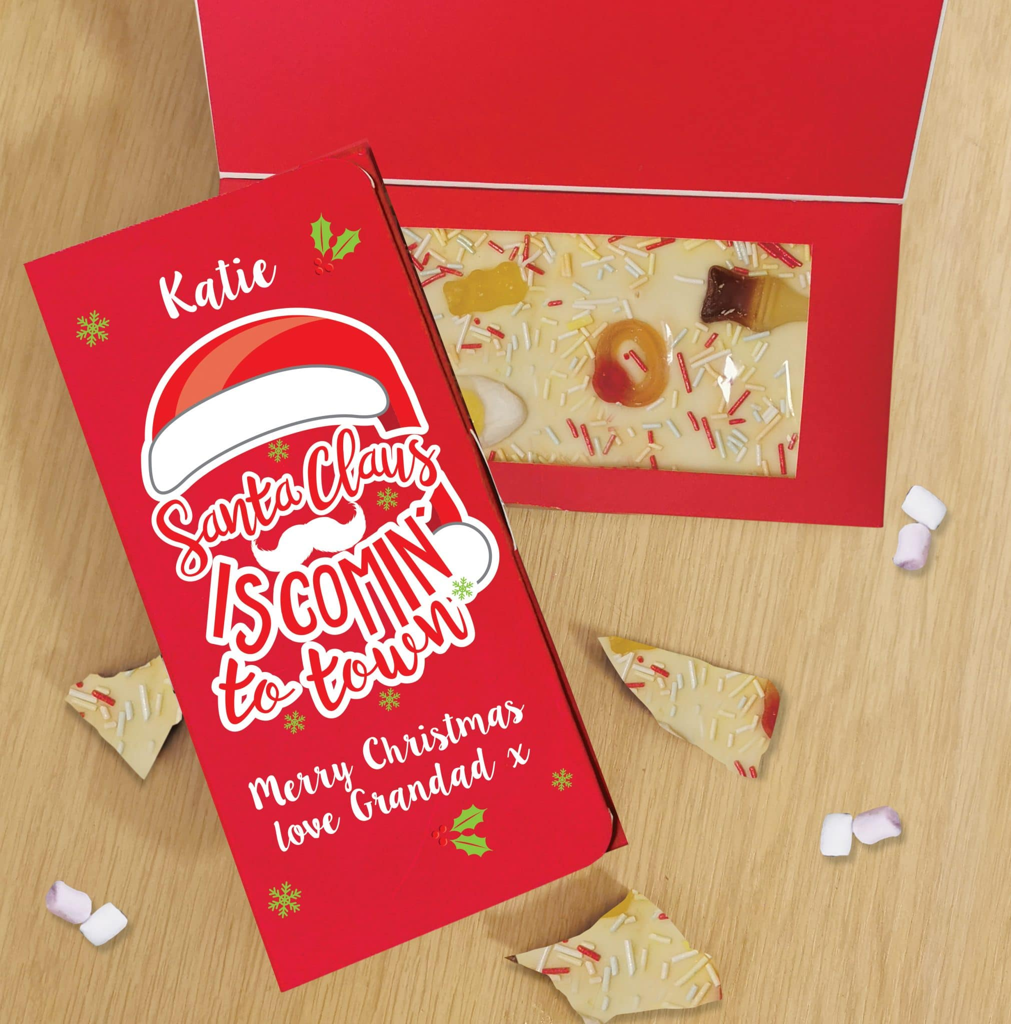 Personalised Santa Claus White Chocolate Letterbox Card, Gift Giving by Low Cost Gifts