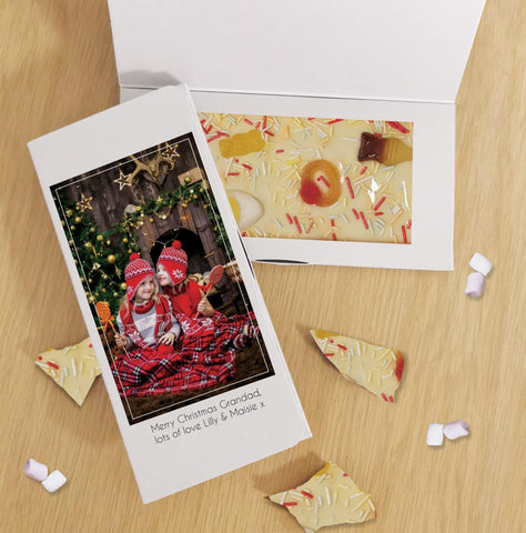 Personalised Photo Upload White Chocolate Letterbox Card