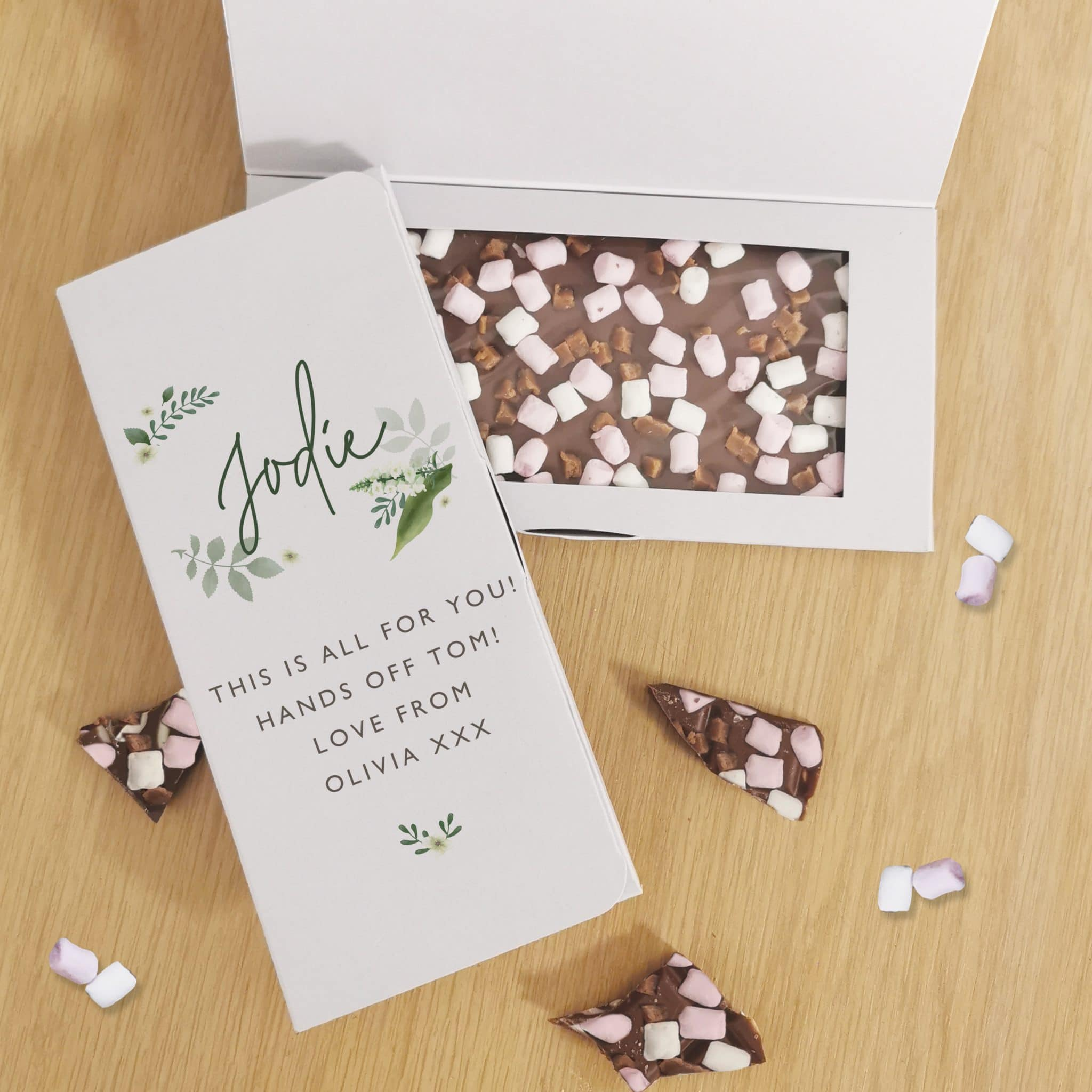 Floral Milk Chocolate Card, Food Items by Low Cost Gifts