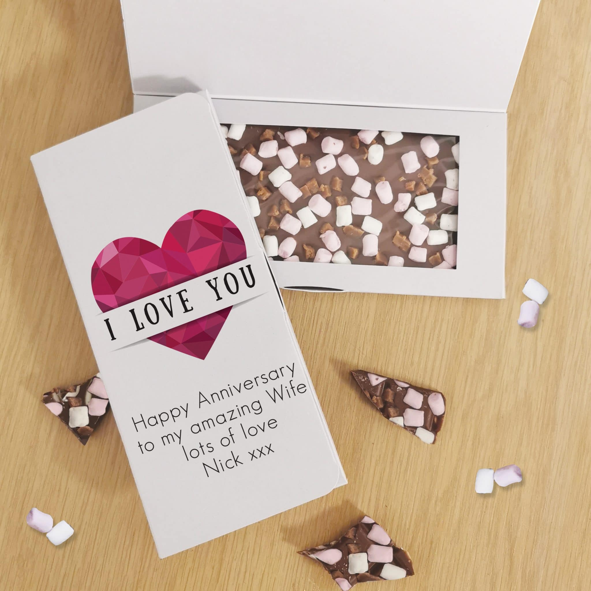 Geometric Heart Milk Chocolate Card, Food Items by Low Cost Gifts