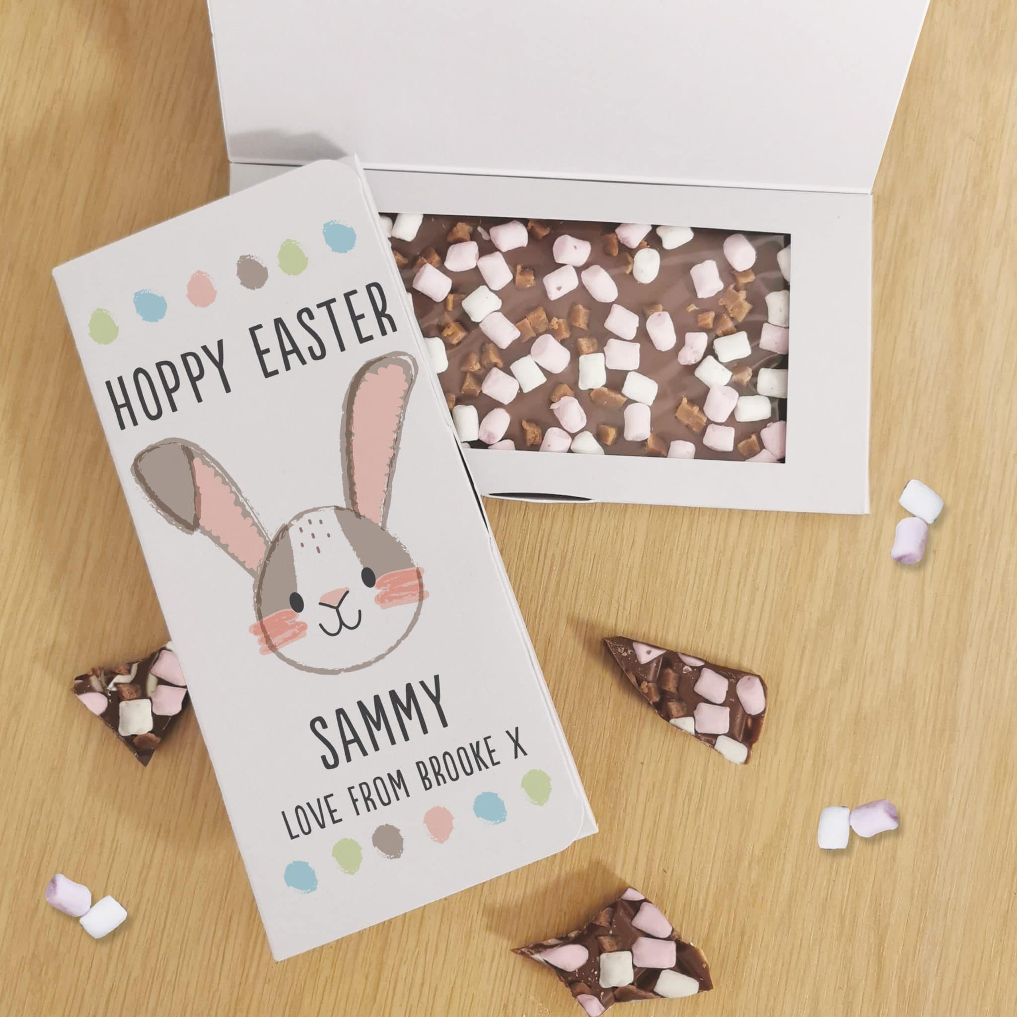 Hoppy Easter Milk Chocolate Card, Food Items by Low Cost Gifts