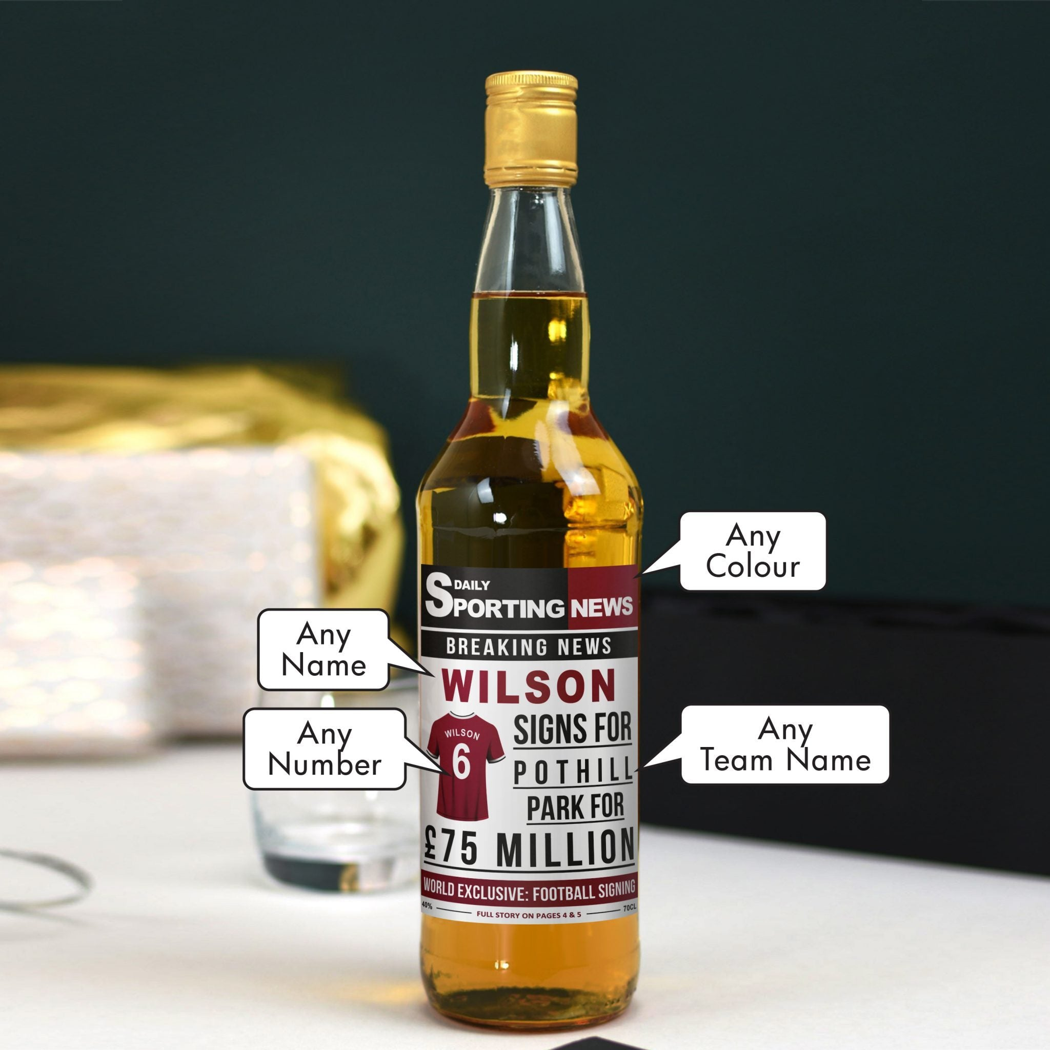 Personalised Football Signing Newspaper Blended Whisky, Alcoholic Beverages by Gifts24-7