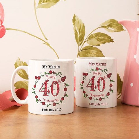 Personalised 40th Wedding Anniversary Mug Set