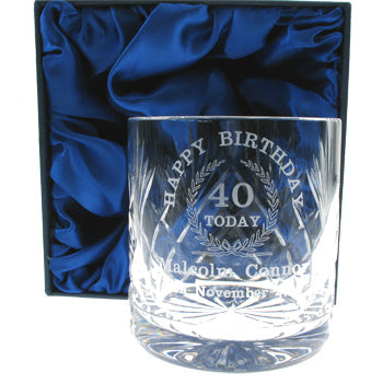 Lead Crystal Engraved 40th Birthday Whisky Glass, Beverages by Low Cost Gifts
