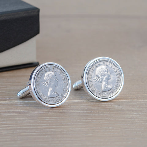 Personalised Silverplated Sixpence Cufflinks | Gifts24-7.co.uk