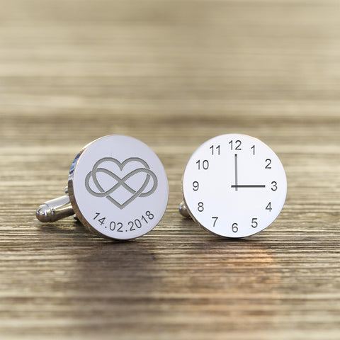 Personalised  Heart Infinity Cufflinks | Gifts24-7.co.uk