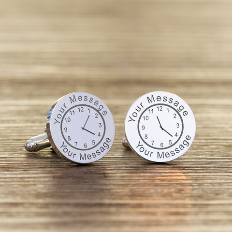 Any Message & Date Round Cufflinks | Gifts24-7.co.uk
