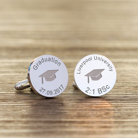 Graduation Cap Round Cufflinks | Gifts24-7.co.uk