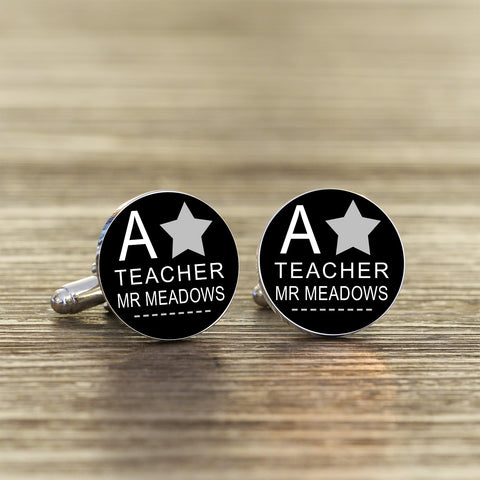Teacher Cufflinks Personalised Silverplated | Gifts24-7.co.uk