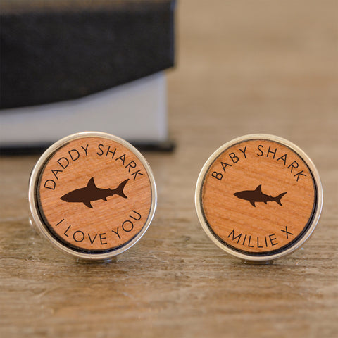 Daddy Shark Personalised  Wood Cufflinks