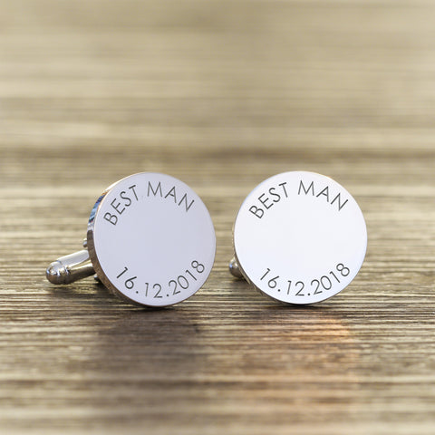 Personalised Silver plated Wedding Party Role Cuff links | ShaneToddGifts.co.uk