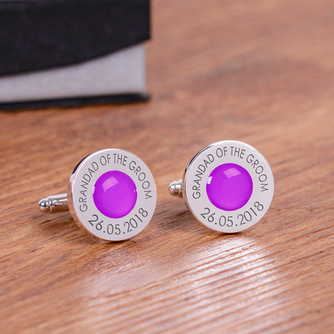 Wedding Party Silverplated Cufflinks - Purple | Gifts24-7.co.uk