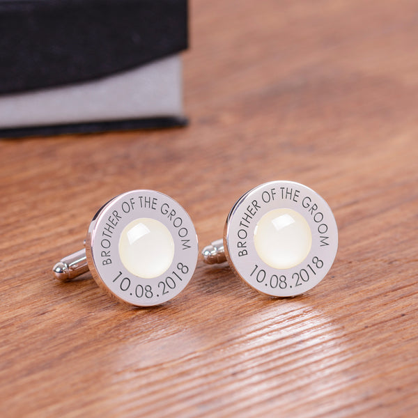 Wedding Party Silverplated Cufflinks - Cream | Gifts24-7.co.uk