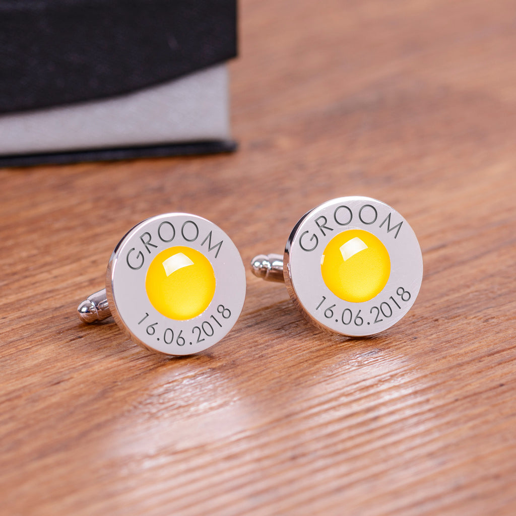 Wedding Party Silverplated Cufflinks - Yellow | Gifts24-7.co.uk