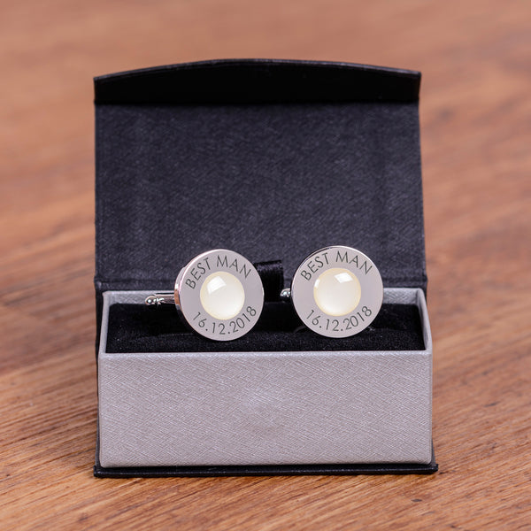 Wedding Party Silverplated Cufflinks - Pale Pink | Gifts24-7.co.uk