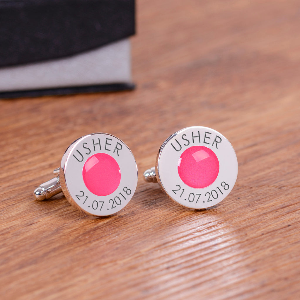 Wedding Party Silverplated Cufflinks - Pink | Gifts24-7.co.uk