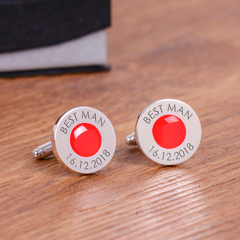 Wedding Party Silverplated Cufflinks - Red
