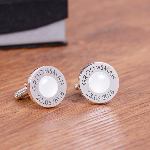Wedding Party Silverplated Cufflinks - White | Gifts24-7.co.uk