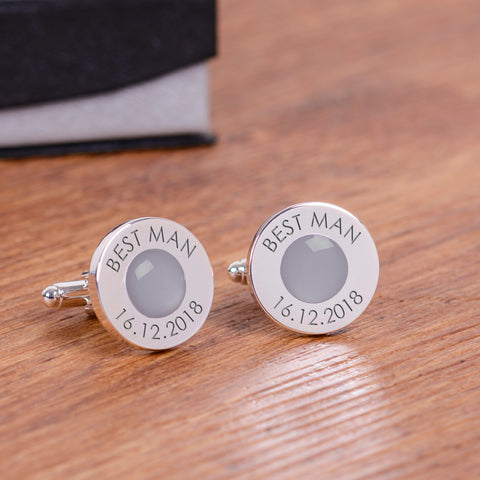 Wedding Party Silverplated Cufflinks - Grey | Gifts24-7.co.uk