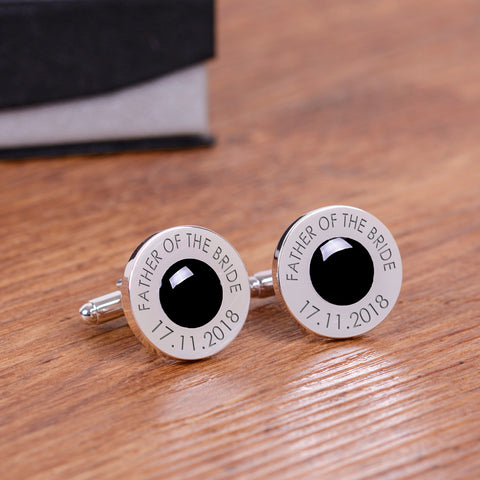 Wedding Party Silverplated Cufflinks - Black | ShaneToddGifts.co.uk