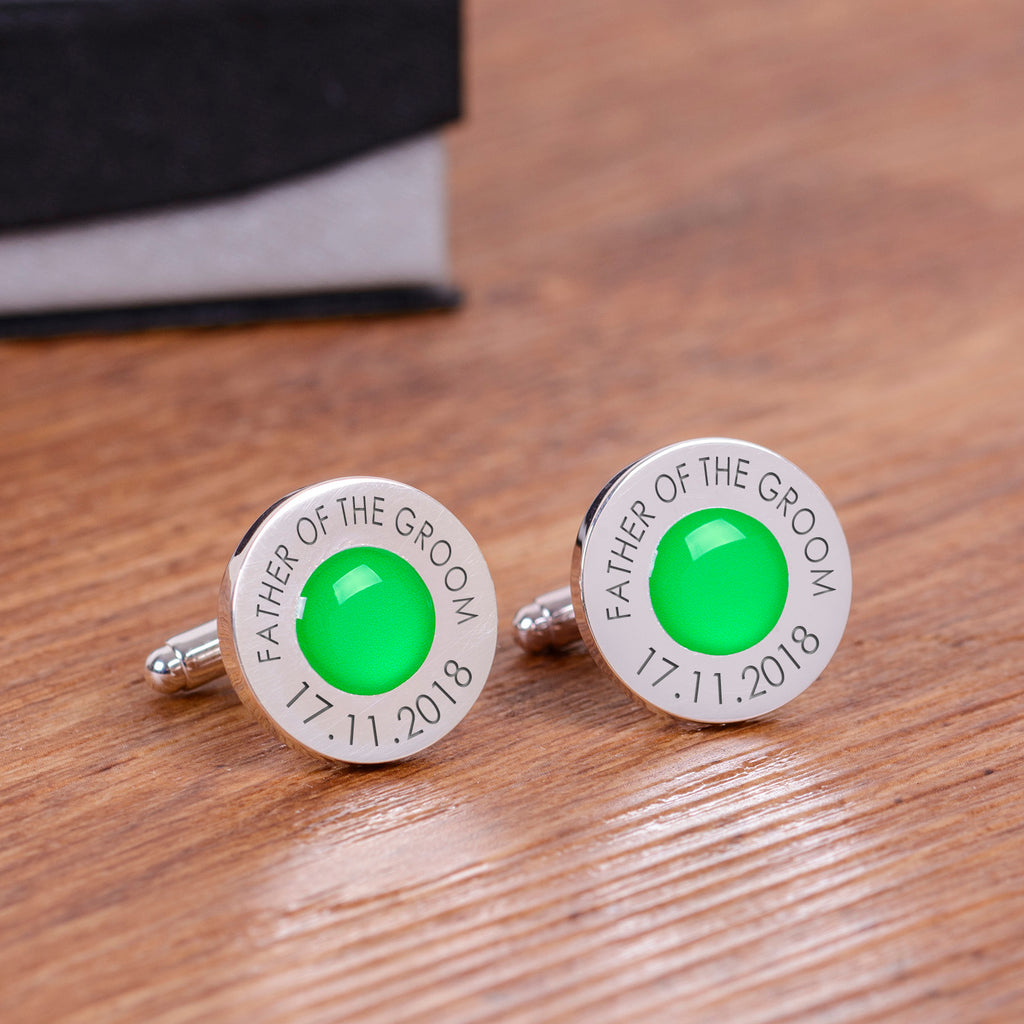 Wedding Party Silverplated Cufflinks - Green | Gifts24-7.co.uk