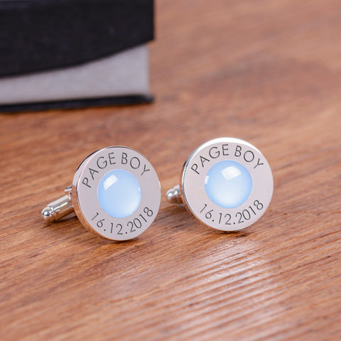 Wedding Party Silverplated Cufflinks - Pale Blue