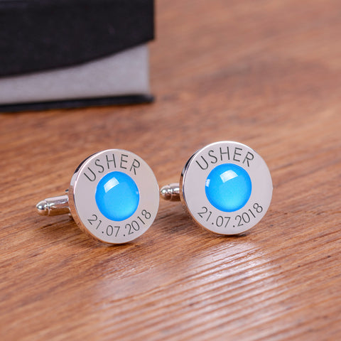 Wedding Party Silverplated Cufflinks - Blue | Gifts24-7.co.uk