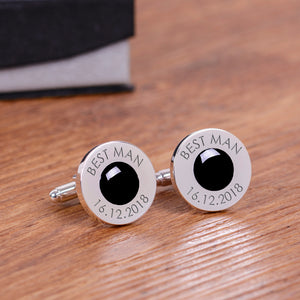 Wedding Party Silverplated Cufflinks - Black | Gifts24-7.co.uk