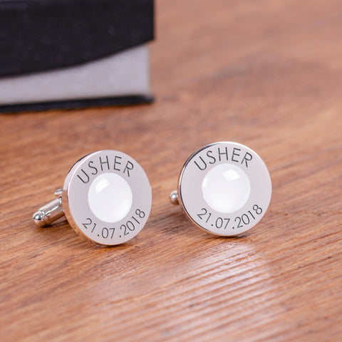 Wedding Party Silverplated Cufflinks - White | ShaneToddGifts.co.uk