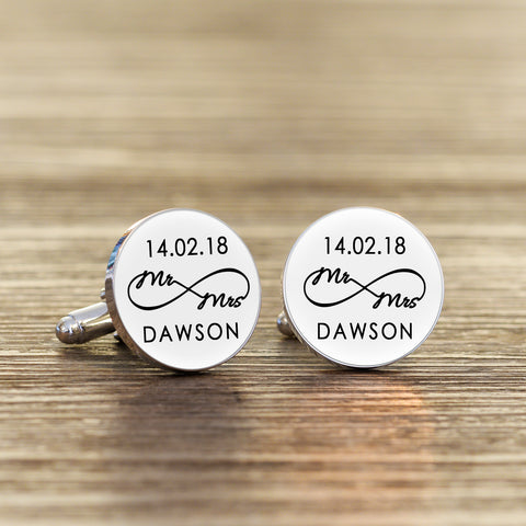 Personalised Mr & Mrs Infinity Round Cufflinks | Gifts24-7.co.uk