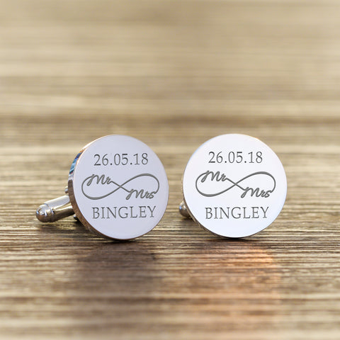 Personalised Silverplated Mr & Mrs Infinity Round Cufflinks