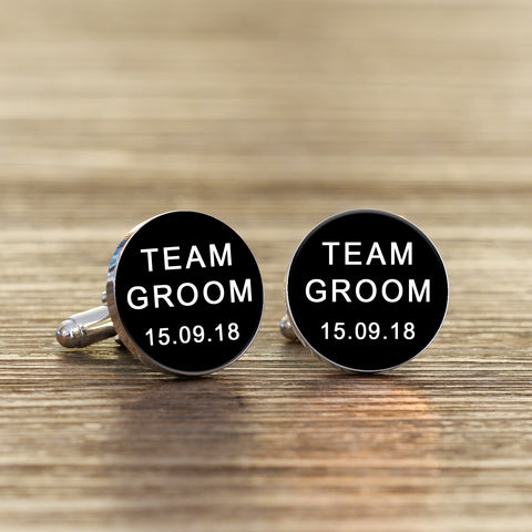 TEAM GROOM Cufflinks - Black or White | ShaneToddGifts.co.uk