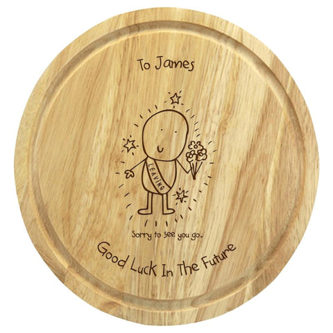 Chilli & Bubble's Leaving round chopping board