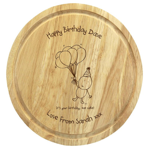 Chilli & Bubble's Birthday round chopping board