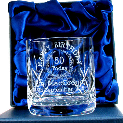 Lead Crystal Engraved 50th Birthday Whisky Glass, Whisky - Image 0