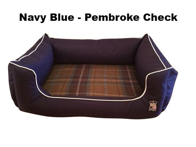 Dreamer Settee - Memory Foam Waterproof & Fabric Various Sizes - Navy Blue - Pembroke Check, Dog Beds by Low Cost Gifts