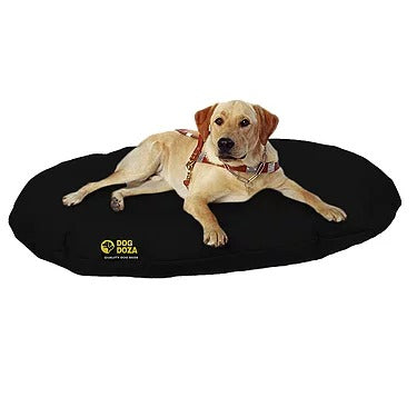 Dog Doza - Waterproof Oval Beds - High Loft Fibre Filled - Various Sizes Black, Dog Beds by Low Cost Gifts
