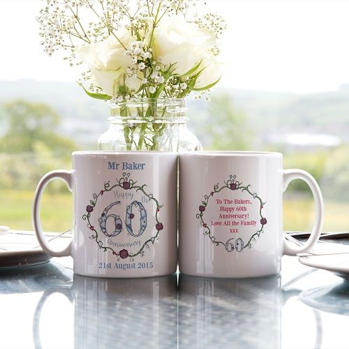 Personalised 60th Wedding Anniversary Mug Set