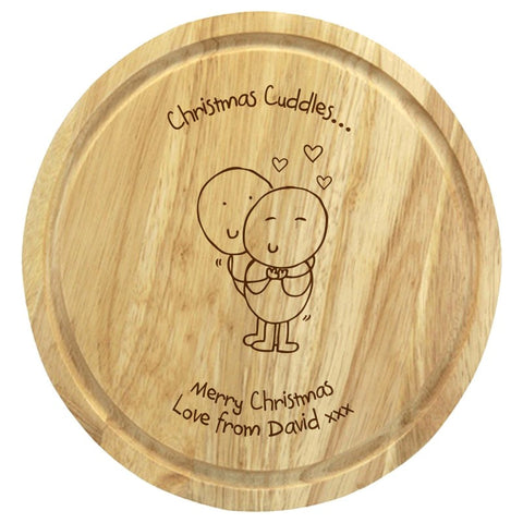 Chilli & Bubble's Christmas Cuddles round chopping board