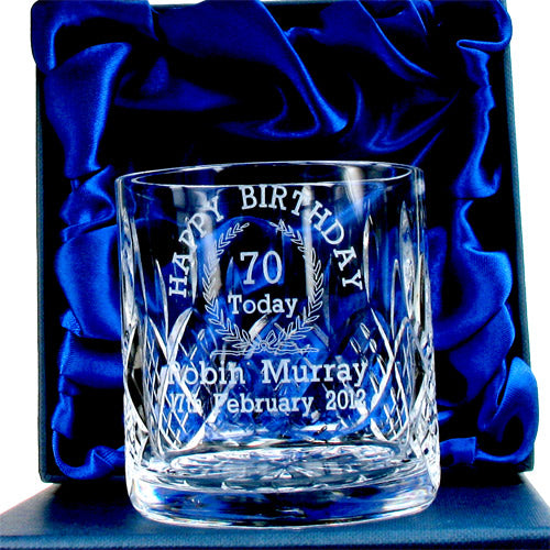 Lead Crystal Engraved 70th Birthday Whisky Glass, Whisky by Low Cost Gifts