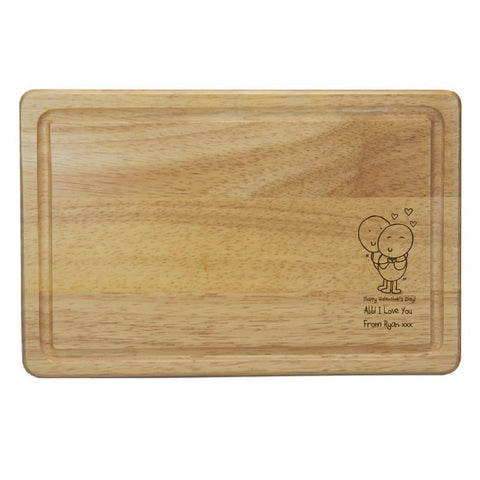 Chilli & Bubbles Valentines Rectangle Wooden Chopping Board
